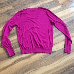LOFT Sweaters - LOFT Magenta Pink Button-Down V-Neck Cardigan